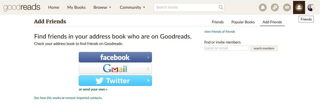 busqueda amigos goodreads