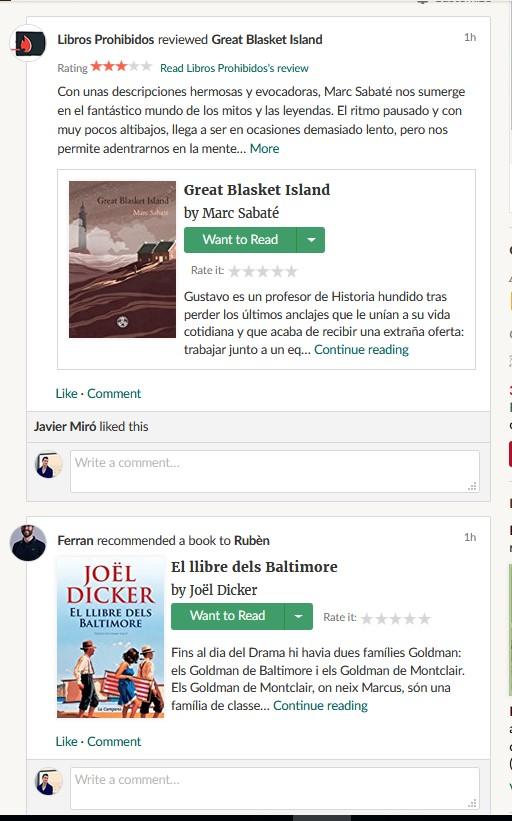 feed timeline home goodreads novedades amigos